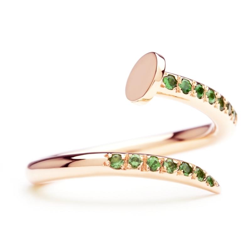 18k Rose Gold Tsavorite Garnet Ring , C' le clou