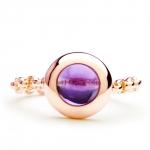 bague chaine rigide en or rose et amethyste diveene joaillerie bague pierre violet