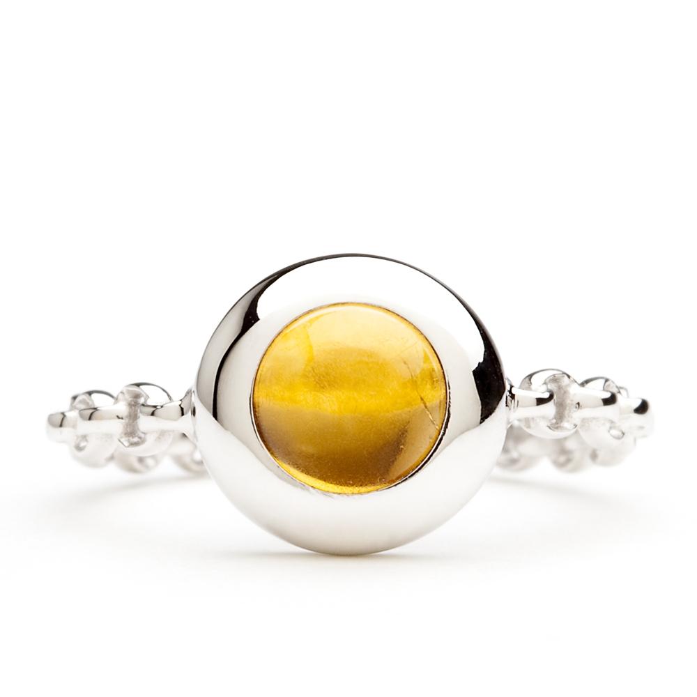 bague chaine rigide en or blanc et citrine palmaira diveene joaillerie bague pierre jaune