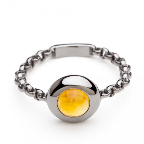 bague chaine rigide en or noir et citrine palmaira diveene joaillerie bague pierre jaune