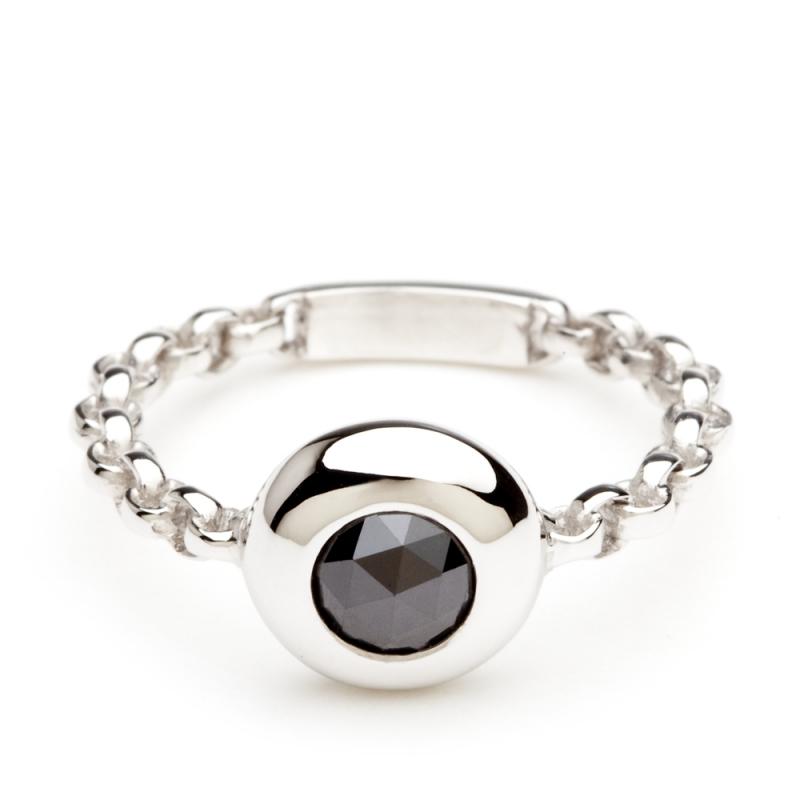 18k White Gold Black Diamond Ring , C'TESS