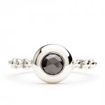 bague chaine rigide en or blanc et diamant noir diveene joaillerie bague pierre diamant