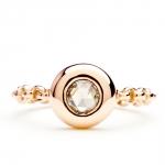 bague chaine rigide en or rose et diamant champagne diveene joaillerie bague pierre diamant
