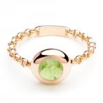 bague chaine rigide en or rose et peridot diveene joaillerie bague pierre verte