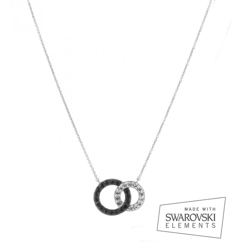 Collier argent, cristal Swarovski, Ornella Black