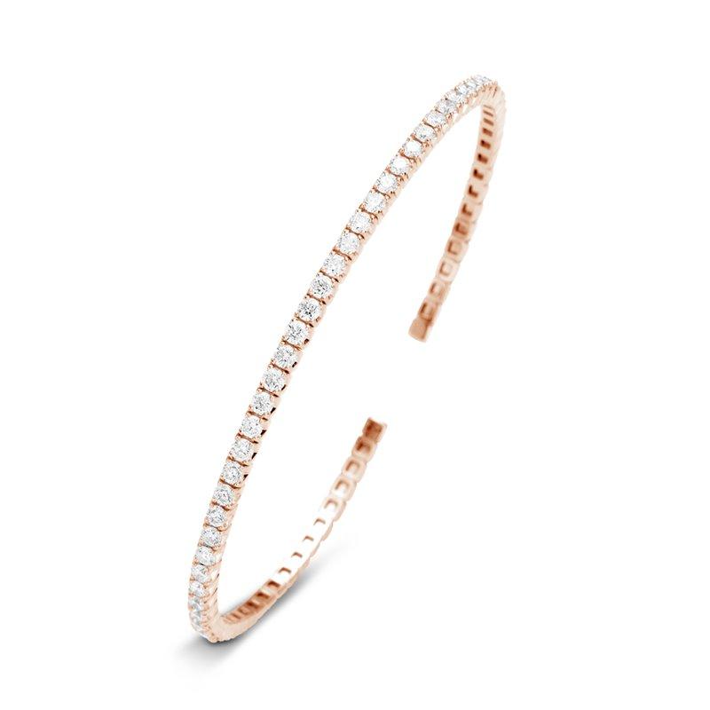 Bracelet Jonc Flexible Or rose, Diamants , Lorna