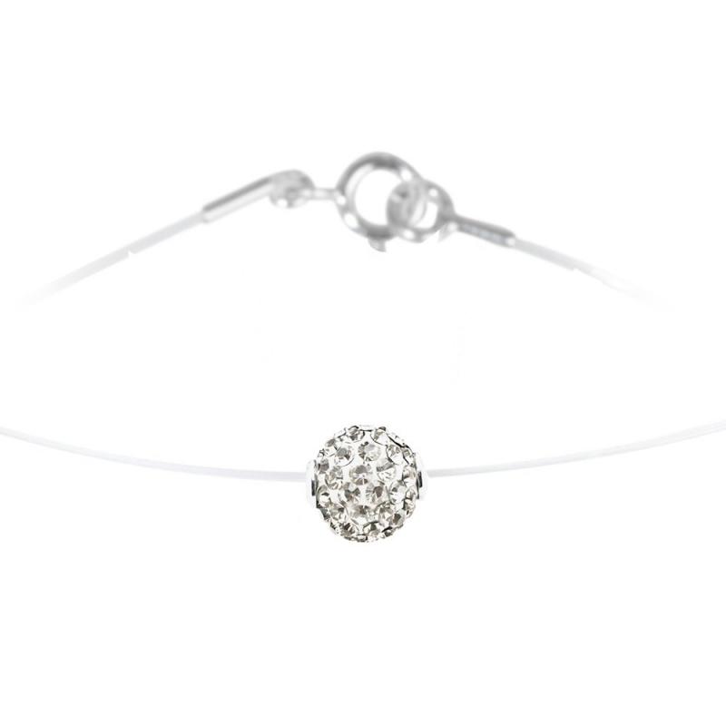 Collier argent et nylon, cristal Swarovski, Lady Glam Classic