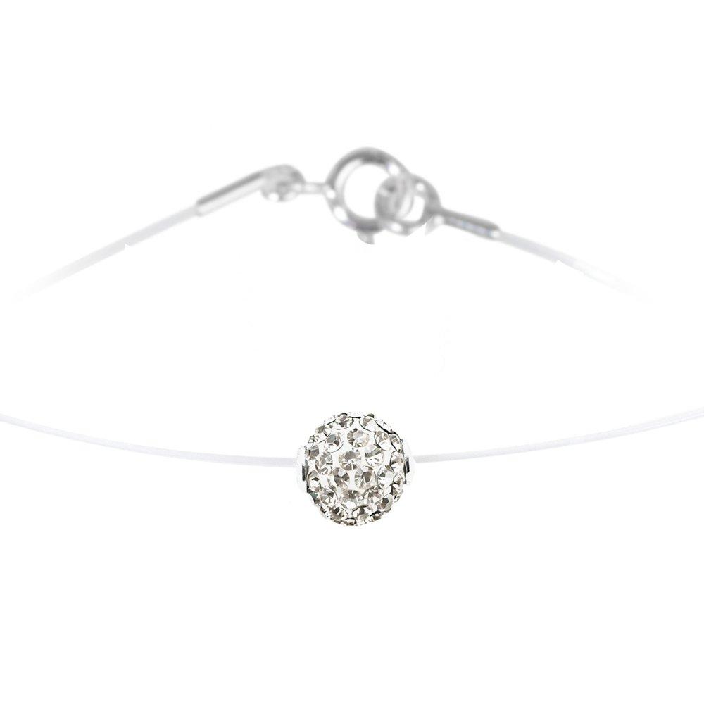 collier argent nylon et cristal swarovski - lady glam