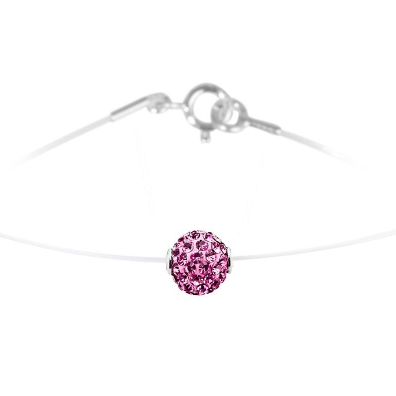 Collier argent et nylon, cristal Swarovski, Lady Glam Rose