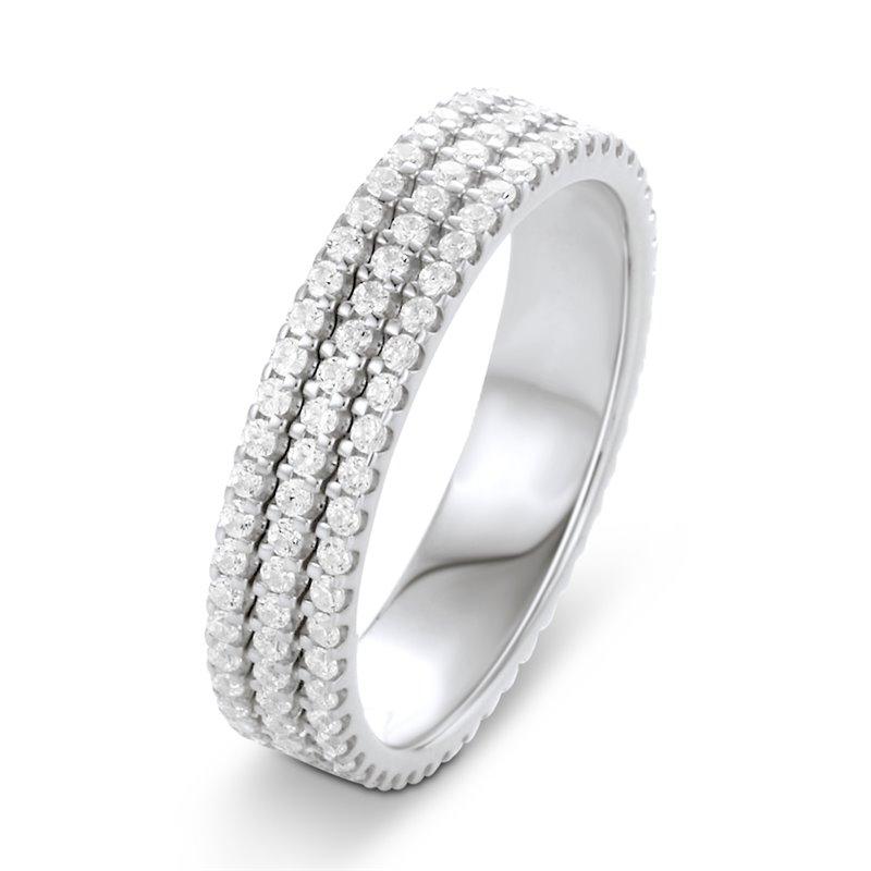 Pave Diamond Eternity Band Ring in Platinum , Eva 3.00 CT