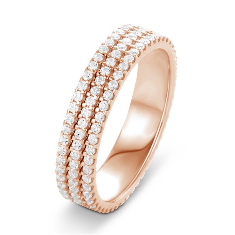 Bague alliance or rose, Diamants , Eva 3.00 CTS