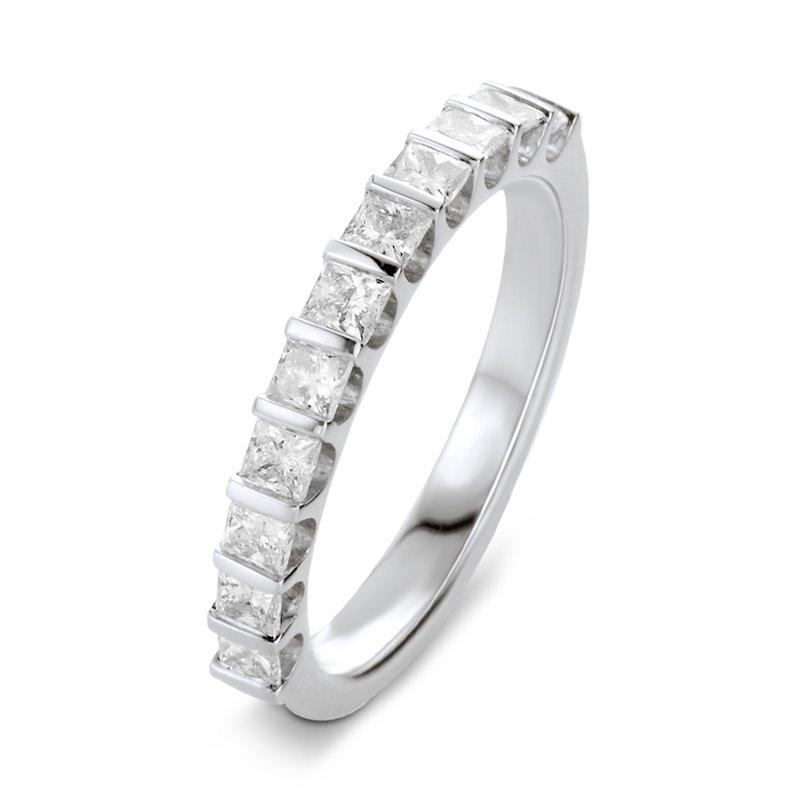 Bague alliance or blanc, Demi tour Diamants Princesse , Lauren 0.33 CT