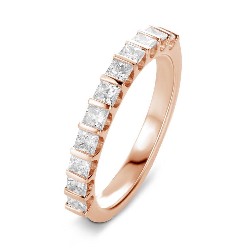 Bague alliance or rose, Demi tour Diamants Princesse , Lauren 0.33 CT