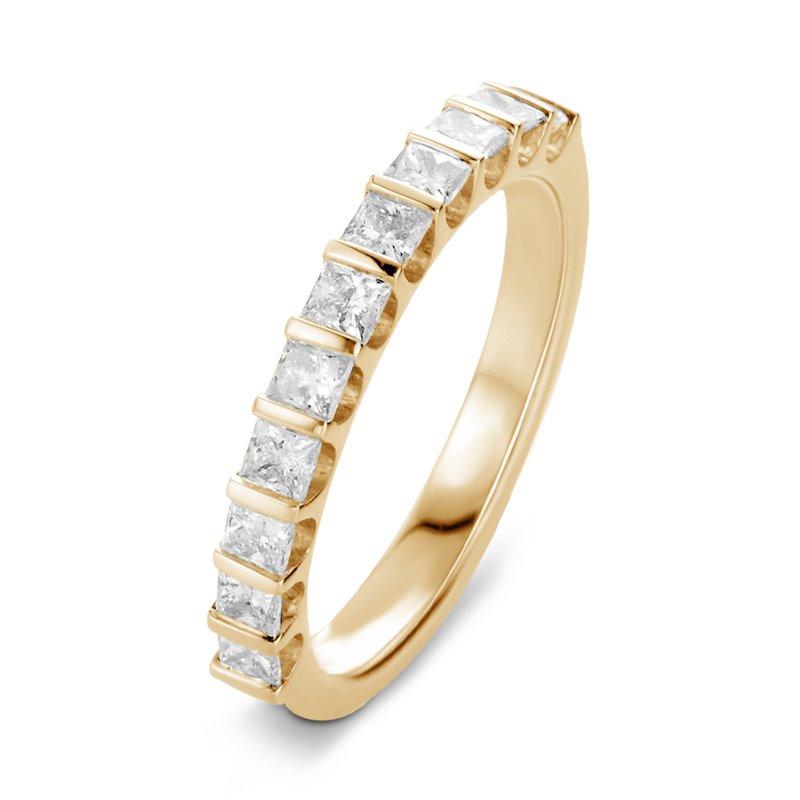 Bague alliance or jaune, Demi tour Diamants Princesse , Lauren 0.50 CT