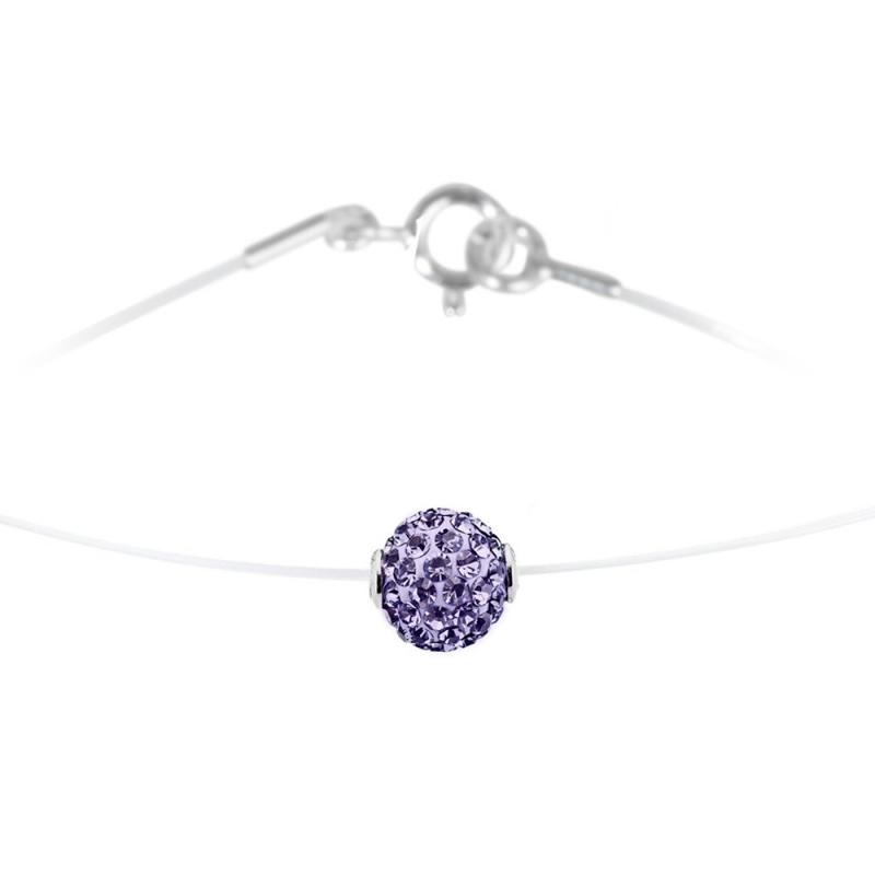 Collier argent et nylon, cristal Swarovski, Lady Glam Amethyst