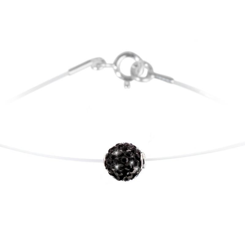 Collier argent et nylon, cristal Swarovski, Lady Glam Black