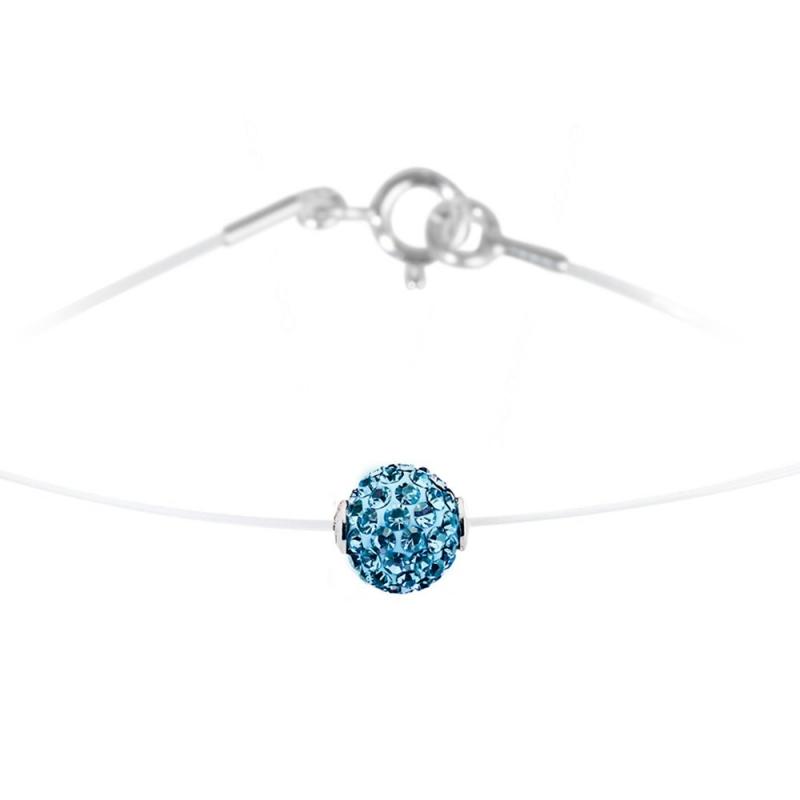 Collier argent et nylon, cristal Swarovski, Lady Glam Aquamarine