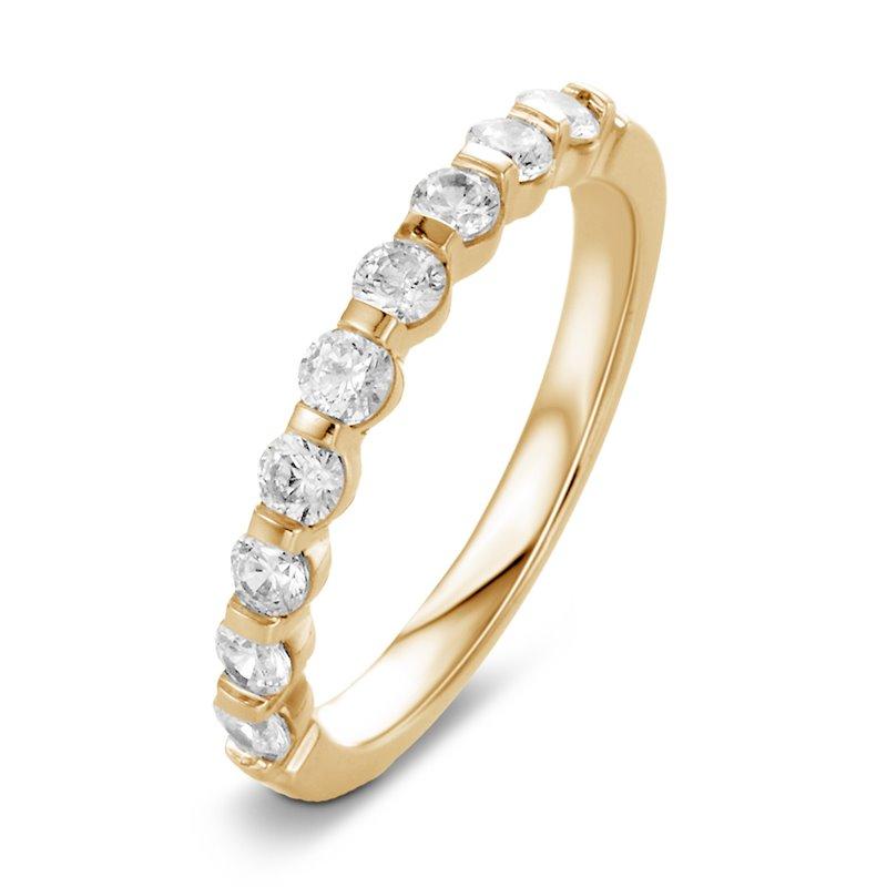Bague alliance or jaune, Demi tour Diamants , Marion 0.20 CT