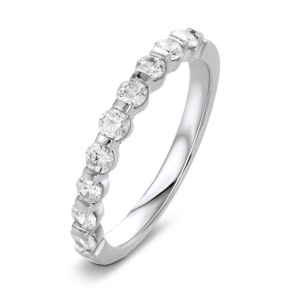 Marion Bague alliance demi tour or blanc et diamants 0.50 carat diveene joaillerie