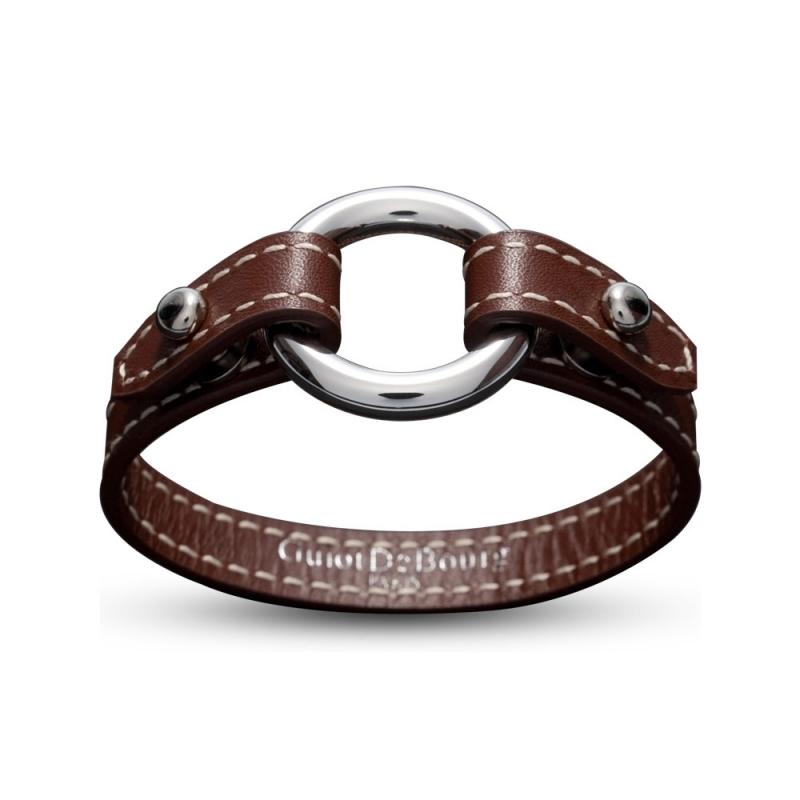 Bracelet en cuir, Argent, Leo