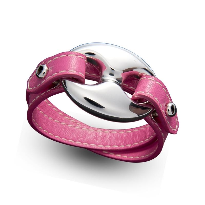 Bracelet double tour en cuir, Argent, Scorpio