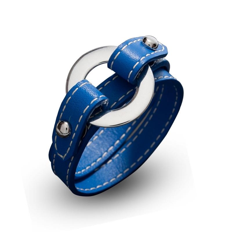 Bracelet double tour en cuir, Argent , Pisces