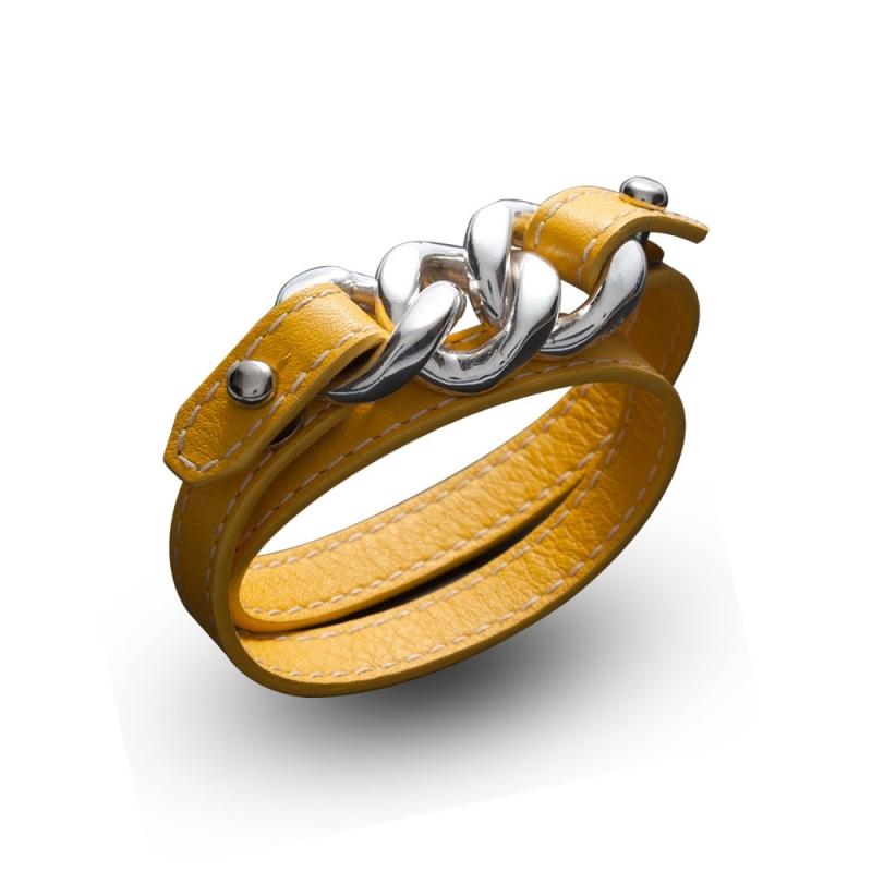 Bracelet double tour en cuir, Argent, Astral