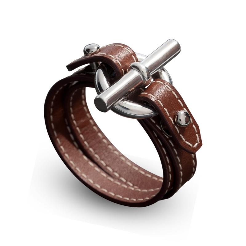 Bracelet double tour en cuir, Argent, Cancer