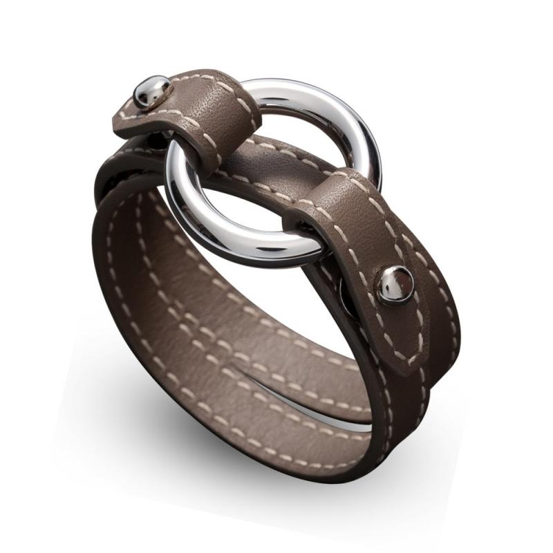 Bracelet double tour en cuir, Argent, Leo