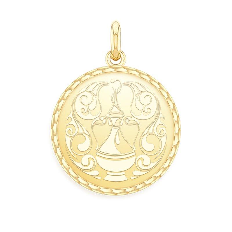 Yellow Gold Zodiac Medal , Aquarius