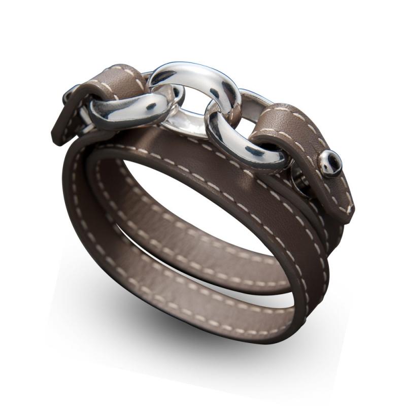 Bracelet double tour en cuir, Argent , Sagittarius