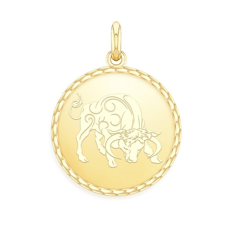 18k Yellow Gold Zodiac Medal , Taurus