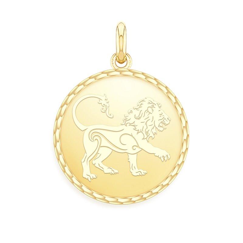 Yellow Gold Zodiac Medal , Leo