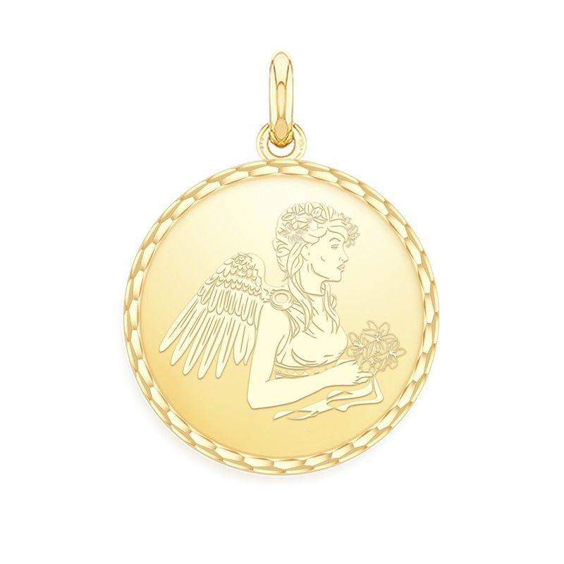 18k Yellow Gold Zodiac Medal , Virgo