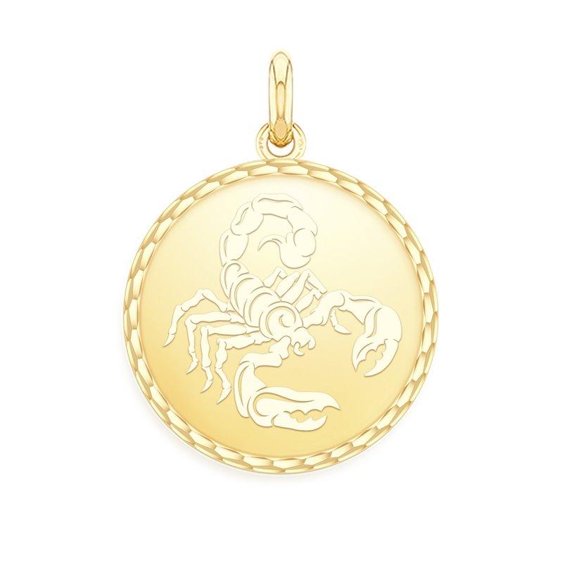 Yellow Gold Zodiac Medal , Scorpio