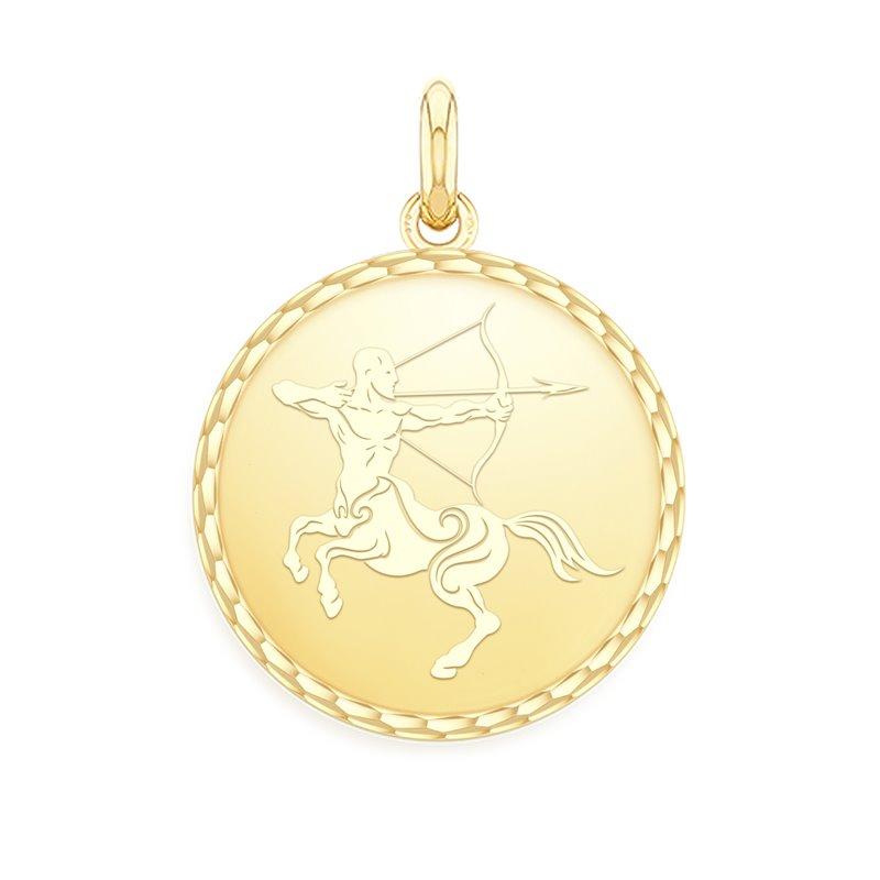 Yellow Gold Zodiac Medal , Sagittarius