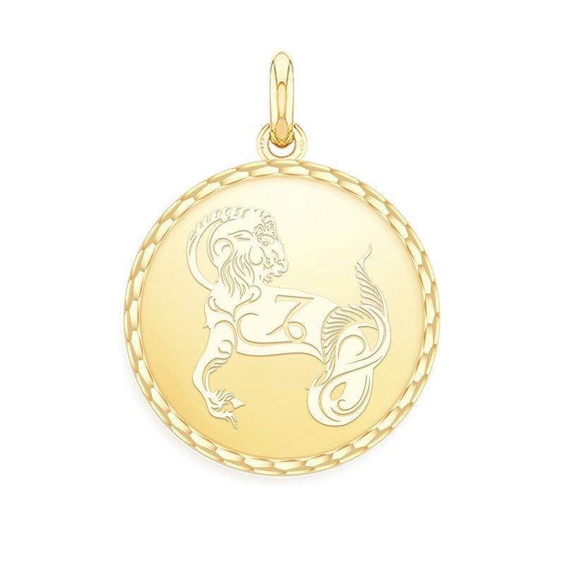 18k Yellow Gold Zodiac Medal , Capricorn