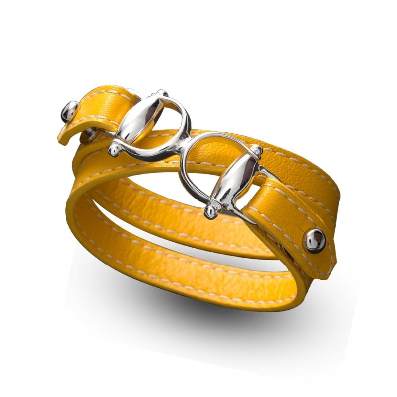 Bracelet double tour en cuir, Argent , Taurus