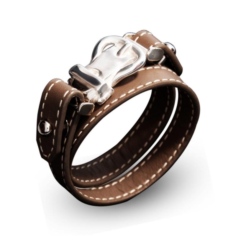 Bracelet double tour en cuir, Argent , Aries