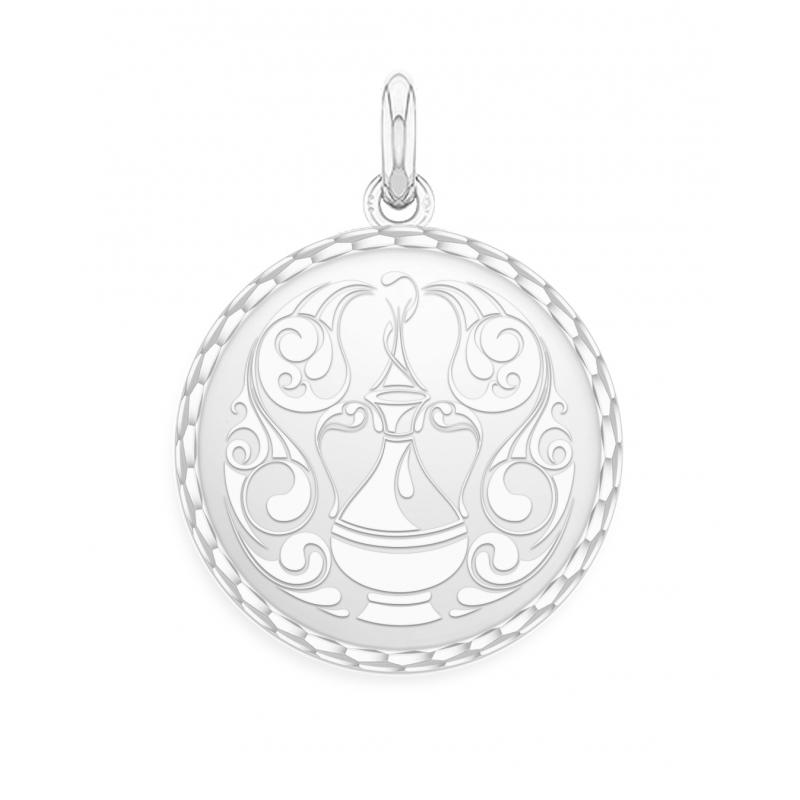 White Gold Zodiac Medal , Aquarius