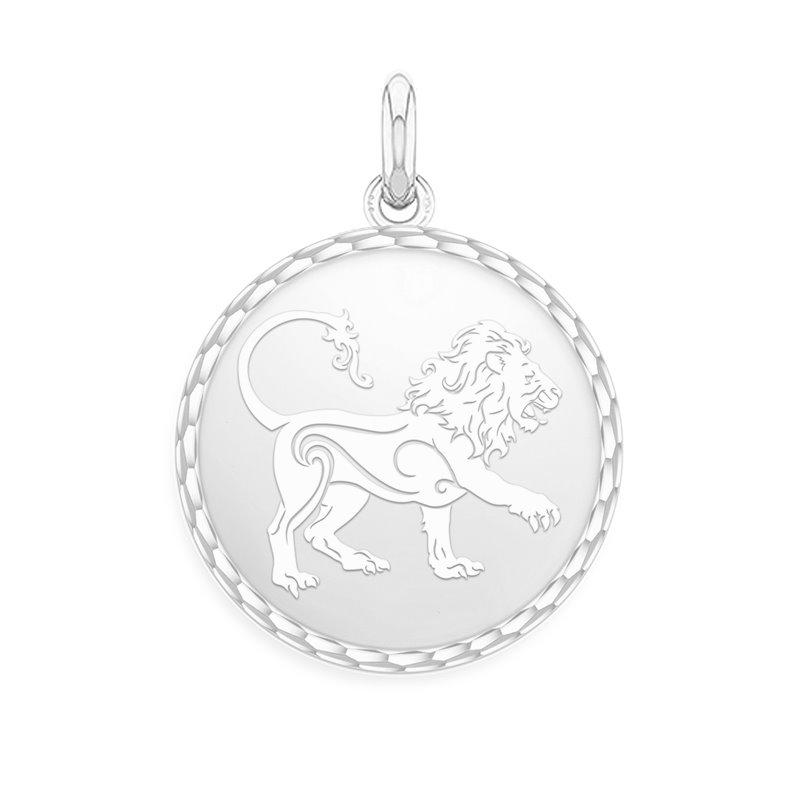 White Gold Zodiac Medal , Leo