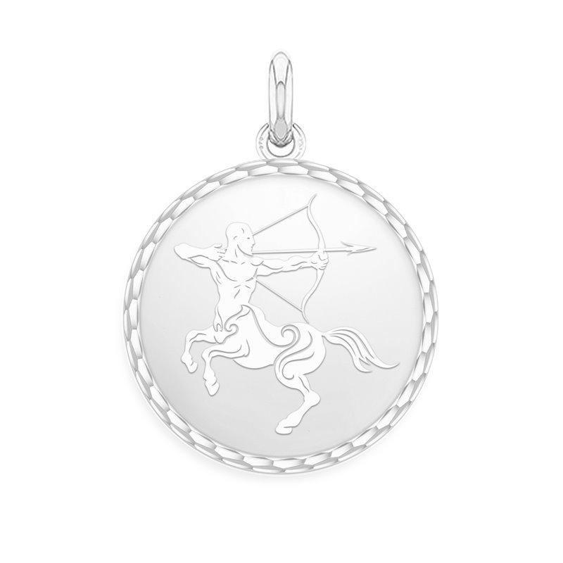 18k White Gold Zodiac Medal , Sagittarius