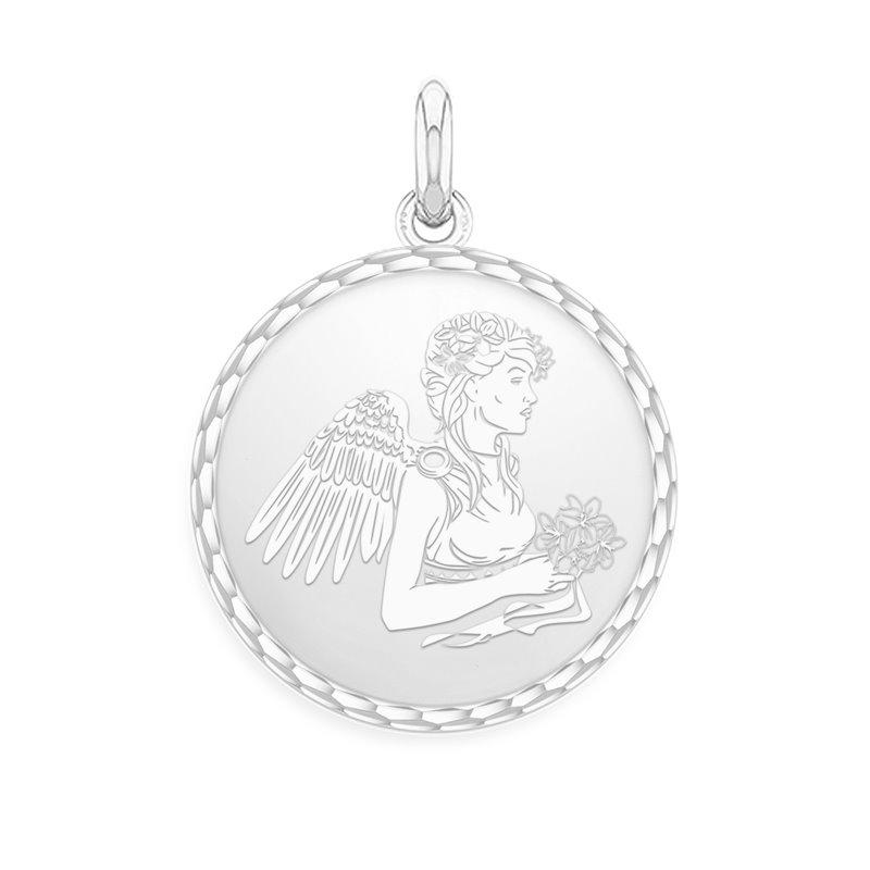 18k White Gold Zodiac Medal , Virgo