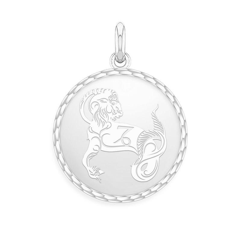 White Gold Zodiac Medal , Capricorn