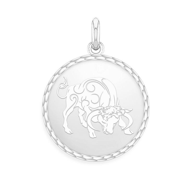 White Gold Zodiac Medal , Taurus