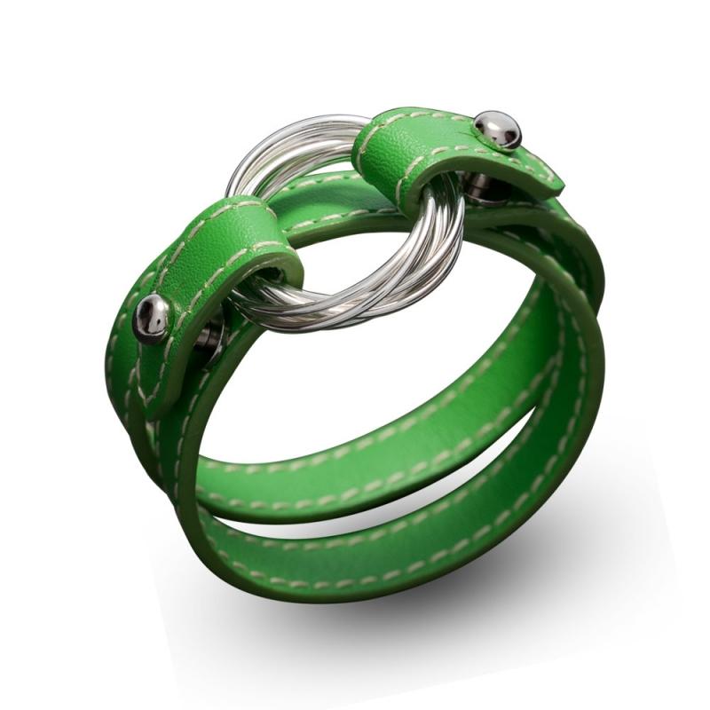 Bracelet double tour en cuir, Argent, Aquarius