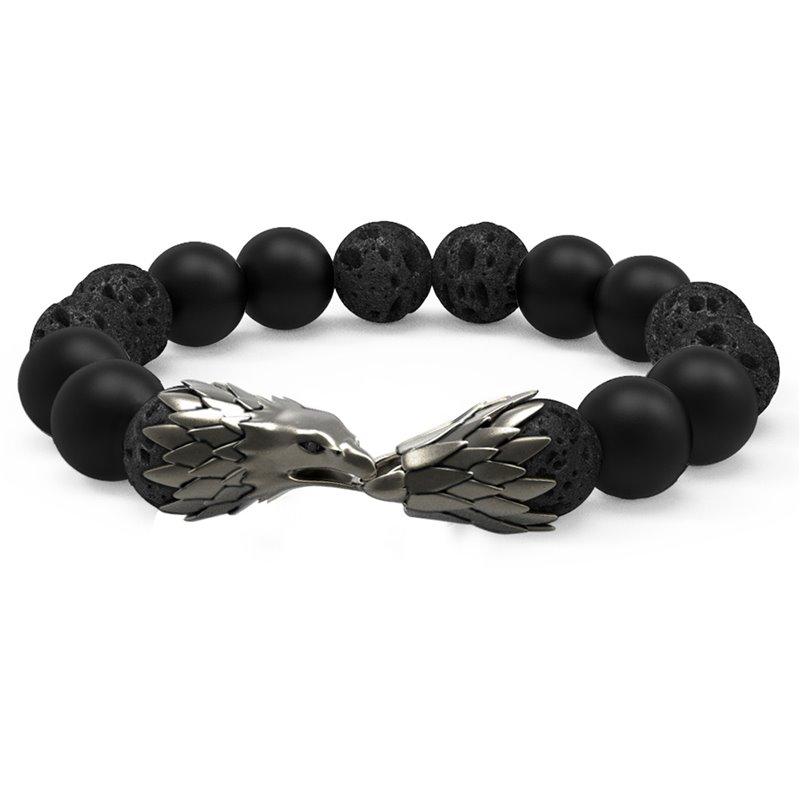 Bracelet Perles Lave, Agate, Argent , Eagle