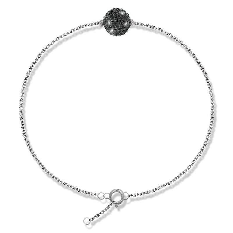 Bracelet argent et cristal Swarovski noir , Lady Glam