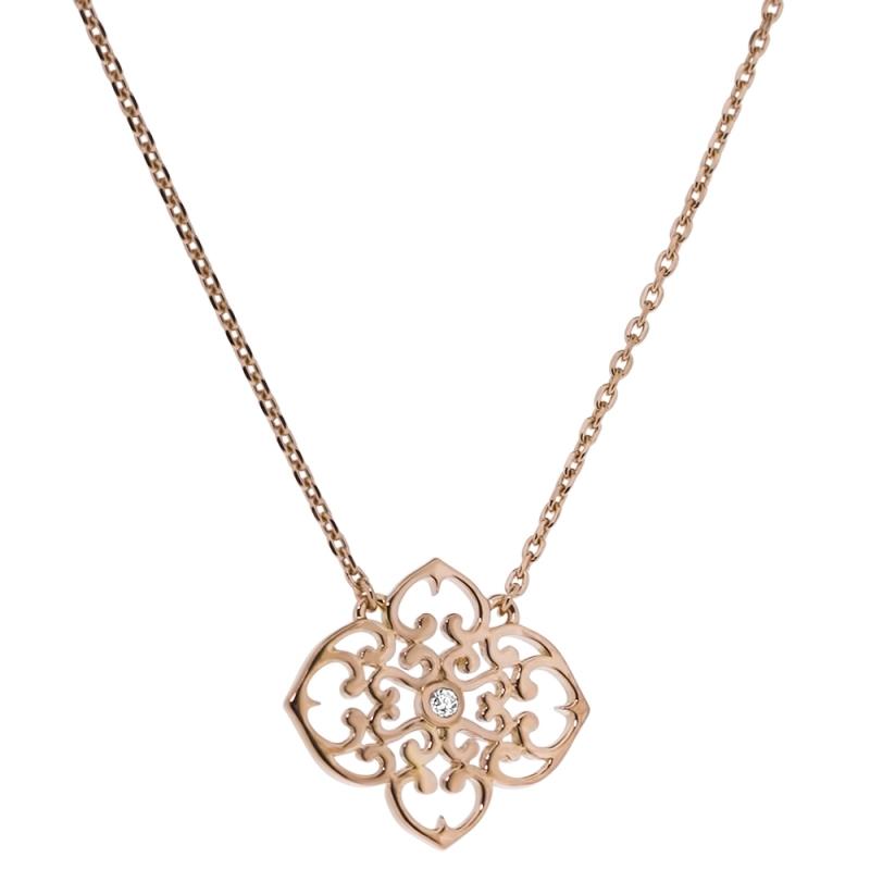 Collier vermeil rose, Diamant , Trèfle